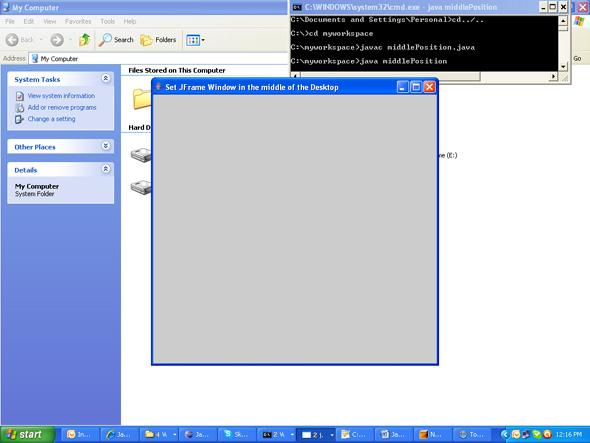 Java program in the middle of the desktop