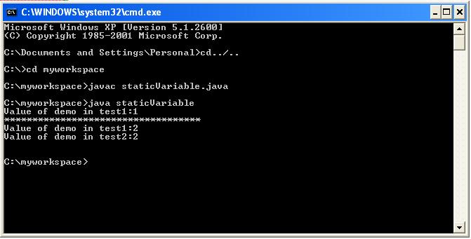 static variable java
