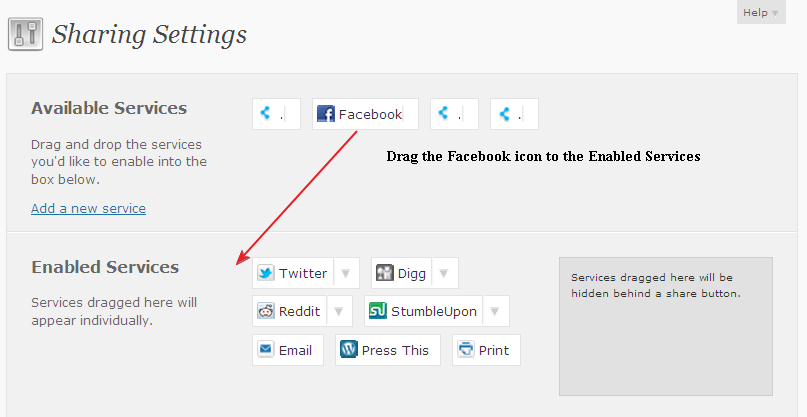 Drag facebook icon to Enable Services in wordpress