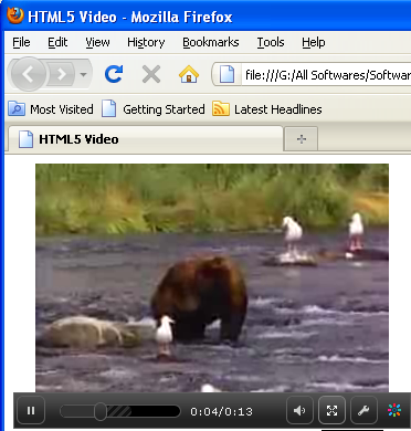 HTML5 Video tag on Mozilla