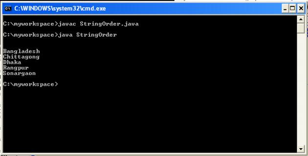 String sorting in alphabetical order in java