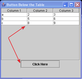 JBUtton below the JTable