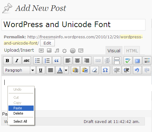 WordPress and Unicode Font