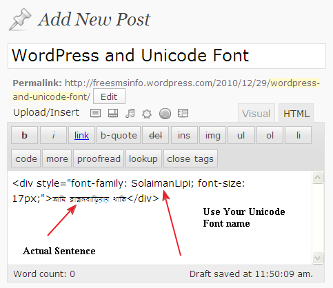 WordPress and UniCode Font