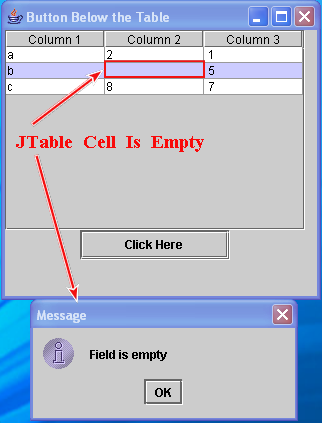 JTable empty cell validation