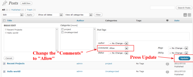 wordpress comments are closed solution