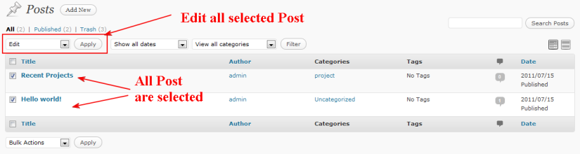 wordpress select all post