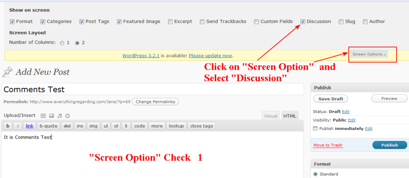 wordpress screen option use