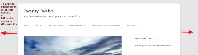 twenty twelve theme background color and width modifications