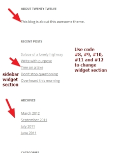 twenty twelve theme widget section modifications