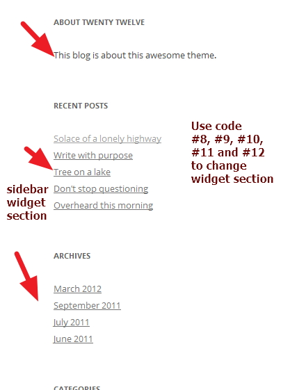 twenty twelve theme widget section modifications