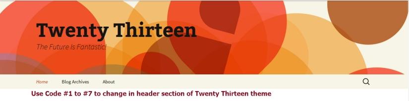 twenty thirteen theme header menus modification