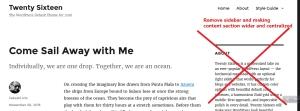 twenty sixteen theme single post sidebar remove
