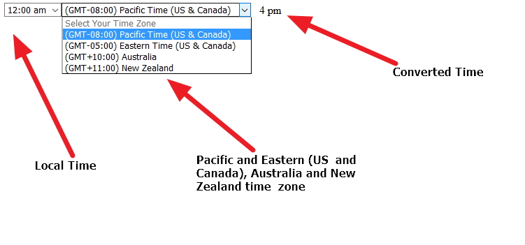 local time to US Pacific Eastern Australia or New zealand time converter