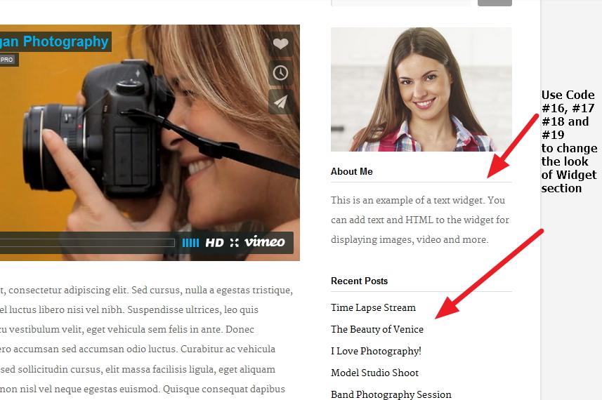 Photographer By Organic Themes Widget section Modifications