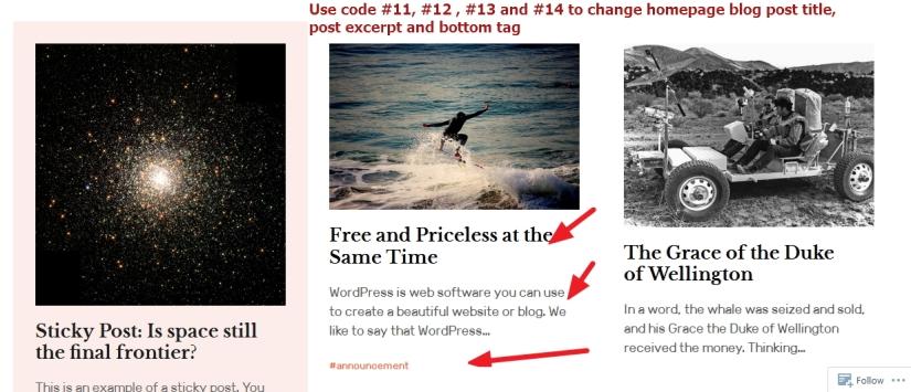 the Rebalance Theme by Automattic homepage post content modification