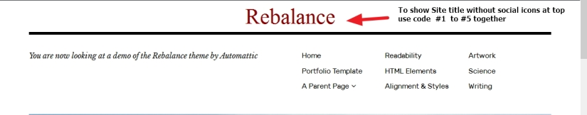 the Rebalance Theme by Automattic site title modification