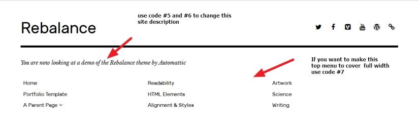 the Rebalance Theme by Automattic top menu and site description modification