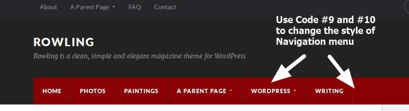 Theme Rowling Nav Menu modification in header
