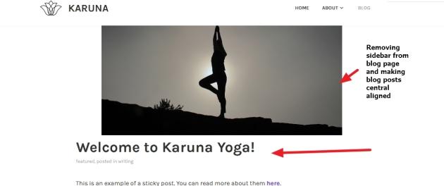 karuna theme blog page sidebar remove