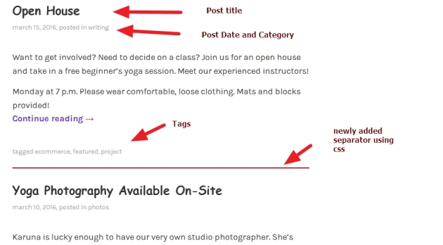 theme karuna blog page modification
