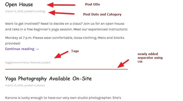 theme karuna blog page modification