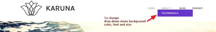 theme karuna drop down menu modification