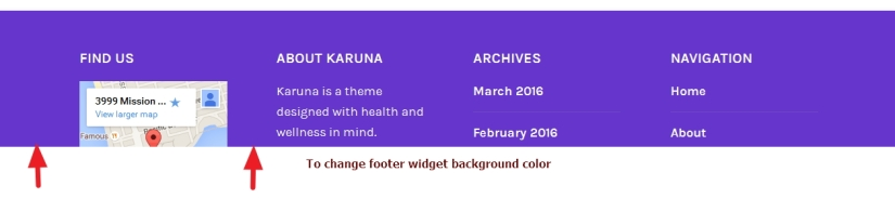 theme karuna footer widget background color modification