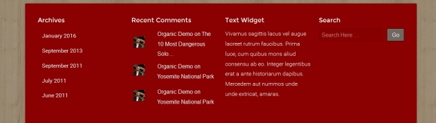 theme natural by organic themes footer widget section modification