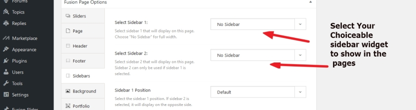 Avada different sidebar in different page