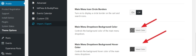 avada theme dropdown background hover color