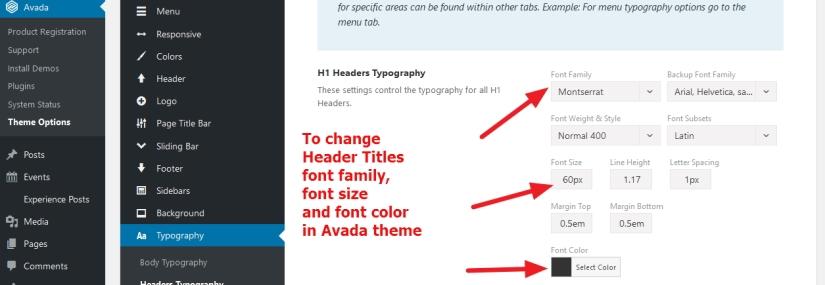 avada theme header titles font style change