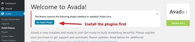 avada theme plugins installation