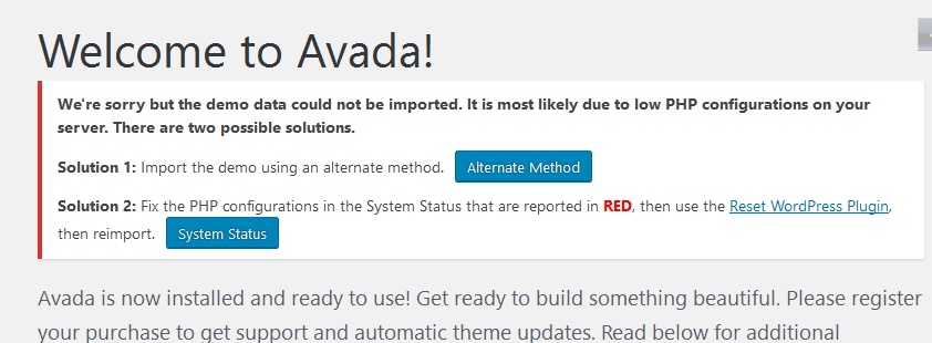 demo data installation memory error in avada