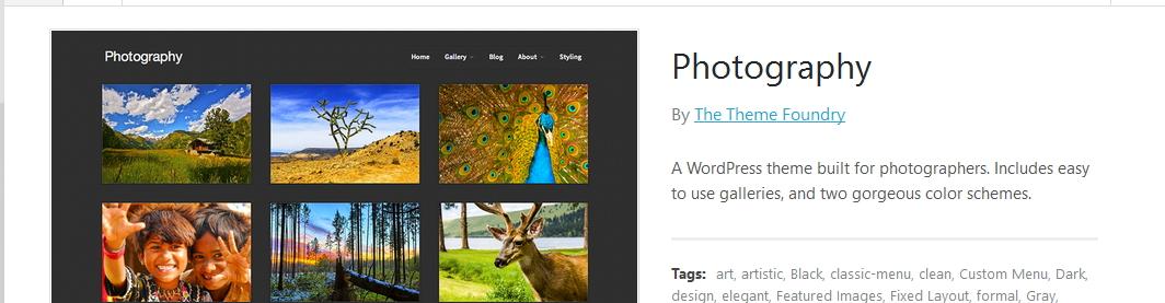 wordpress theme photography by the theme foundry customization using