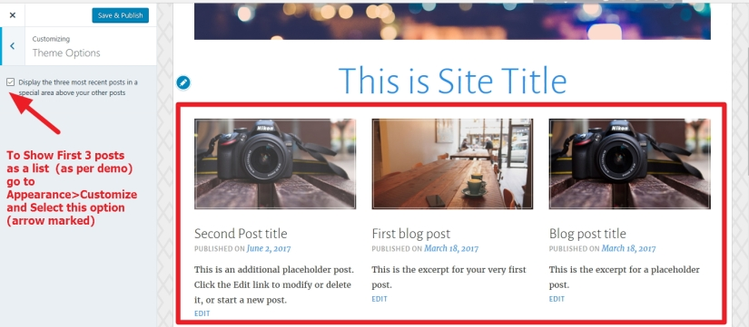 show image side by side just above blog posts