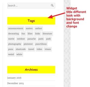widget title font color background modifications