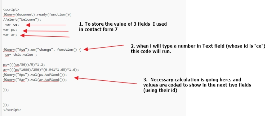 Calculation and value show in contact form 7 field