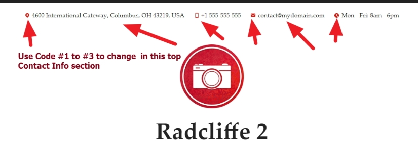 Radcliffe 2 top contact info section font, color, hover modification