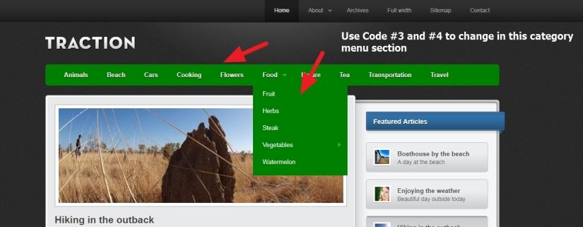 menu and submenu background color change