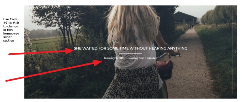 Home page slider title post date reading time modification