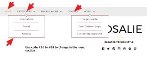 navigation menu font color font size font family and border modification