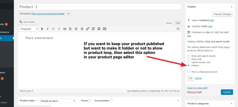 product not to show in loop but remain published wordpress woocommerce