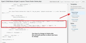 dyad theme footer copyright info change without using plugins
