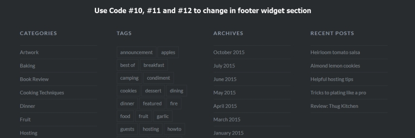 dyad theme footer widget section modification