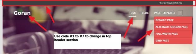 goran theme top header modification