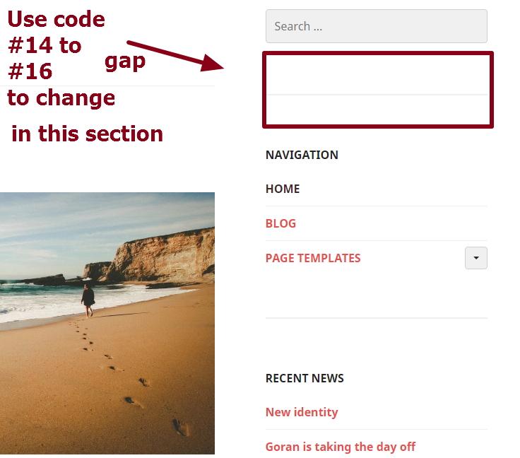 sidebar widget section modification