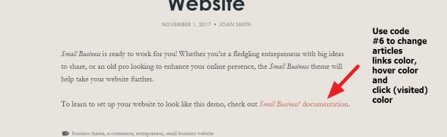 small business theme article links color modification