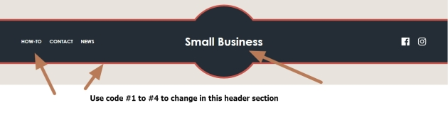 small business theme header section menu section modification