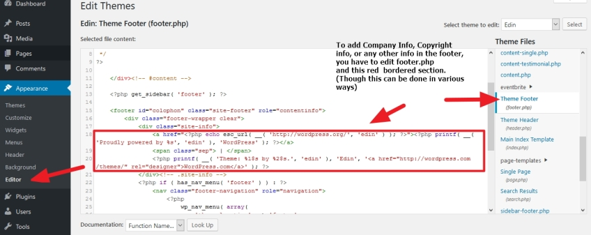 Php footer copyright